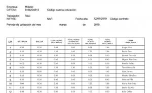 Hoja de registro de control horario en España